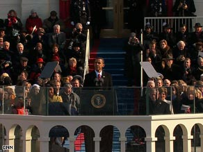 President Obama giving inaugural speech. Photo courtesy of CNN.
