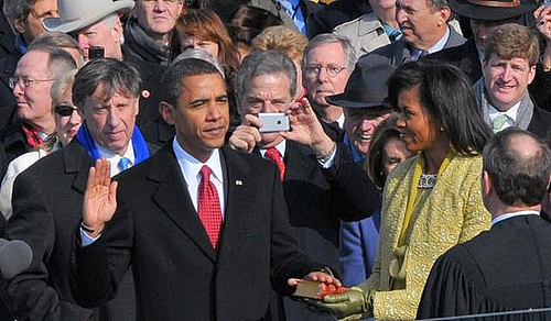 President Obama taking presidential oath.