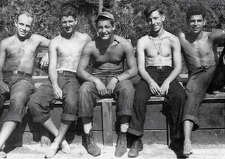 My father, Len Leveen (far right), in the Philippines with his Navy buddies, late 1945