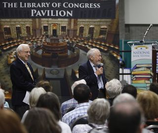 Lewis and Clark authors Ralph Ehrenberg (L) and Herman Viola presenting at the National Book Festival in Washington, D.C.