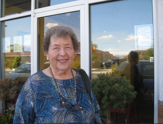 My mother in front of our favorite restaurant in Carson City, Z Bistro